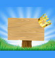 golden crown hanging on sign vector image
