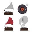 gramophones set isolated icon design vector image