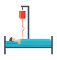 patient lying on bed vector image