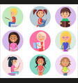 reading children in round icons isolated on white vector image