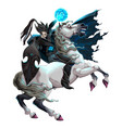 dark elf with armor riding horse vector image