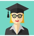 Smiling graduate student flat icon vector image