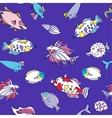 Seamless pattern with color fishes1 vector image