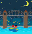 Boat floating under the bridge at night vector image