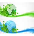 Horizontal banners with planet Earth vector image vector image