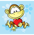 cute monkey with heart vector image