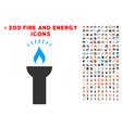 fire torch light icon with bonus power set vector image