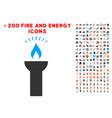 fire torch light icon with bonus power set vector image