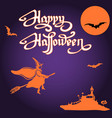 halloween pumpkins and bats on full moon vector image