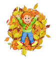 happy little girl playing with autumn leaves vector image