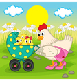 mother chicken with chickens in stroller vector image