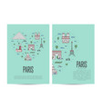 paris travel tour booklet set in linear style vector image