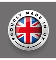 Proudly Made in The UK silver badge vector image