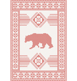 knitted pattern with bear vector image vector image