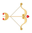 retro cupid bow and arrow with heart and vector image