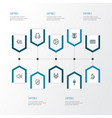 music outline icons set collection of earphones vector image