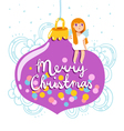 Christmas greeting card with glass globe and angel vector image vector image