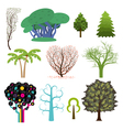 Set of trees in different styles vector image