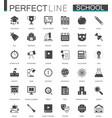 black classic web school icons set vector image