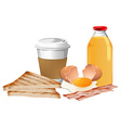Breakfast set with break and juice vector image