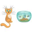 cartoon cat and aquarium with fishes vector image