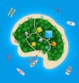 cartoon color tropical island in water vector image