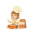 cute smiling little girl chef with bowl and whisk vector image