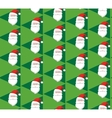 Seamless Christmas Pattern with Santa on Green vector image