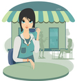 Woman sipping coffee vector image