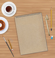Workspace with notebook and coffee vector image