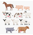 Animal farm set The horse pig cow goat and sheep vector image vector image