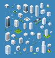 isometric set 3d city vector image