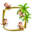 frame design with monkeys on coconut tree vector image