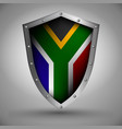 shield with the south africa flag vector image