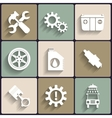 Car service maintenance flat icon set vector image