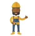 a happy carpenter wearing hard hat vector image