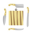 cutting board and knives vector image