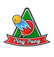 ping pong logotype with red racket and yellow ball vector image