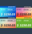 set bitcoin price banner vector image