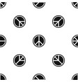 sign hippie peace pattern seamless black vector image