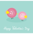 Two pink button birds Love cart Flat design style vector image
