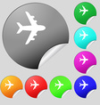 Plane icon sign Set of eight multi colored round vector image