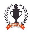 emblem tennis champioship trophy ball label vector image
