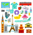 travel time summer vacation symbols in flat vector image