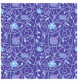medieval flowers pattern blue vector image