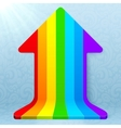 Rainbow stripes realistic plastic up arrow vector image vector image
