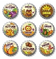 thanksgiving bottle caps vector image vector image