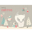 Cute Christmas Arctic baby fox floral decoration vector image