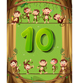 Number ten with 10 monkeys on the tree vector image