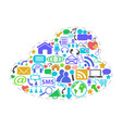 color social network icons in cloud shape vector image